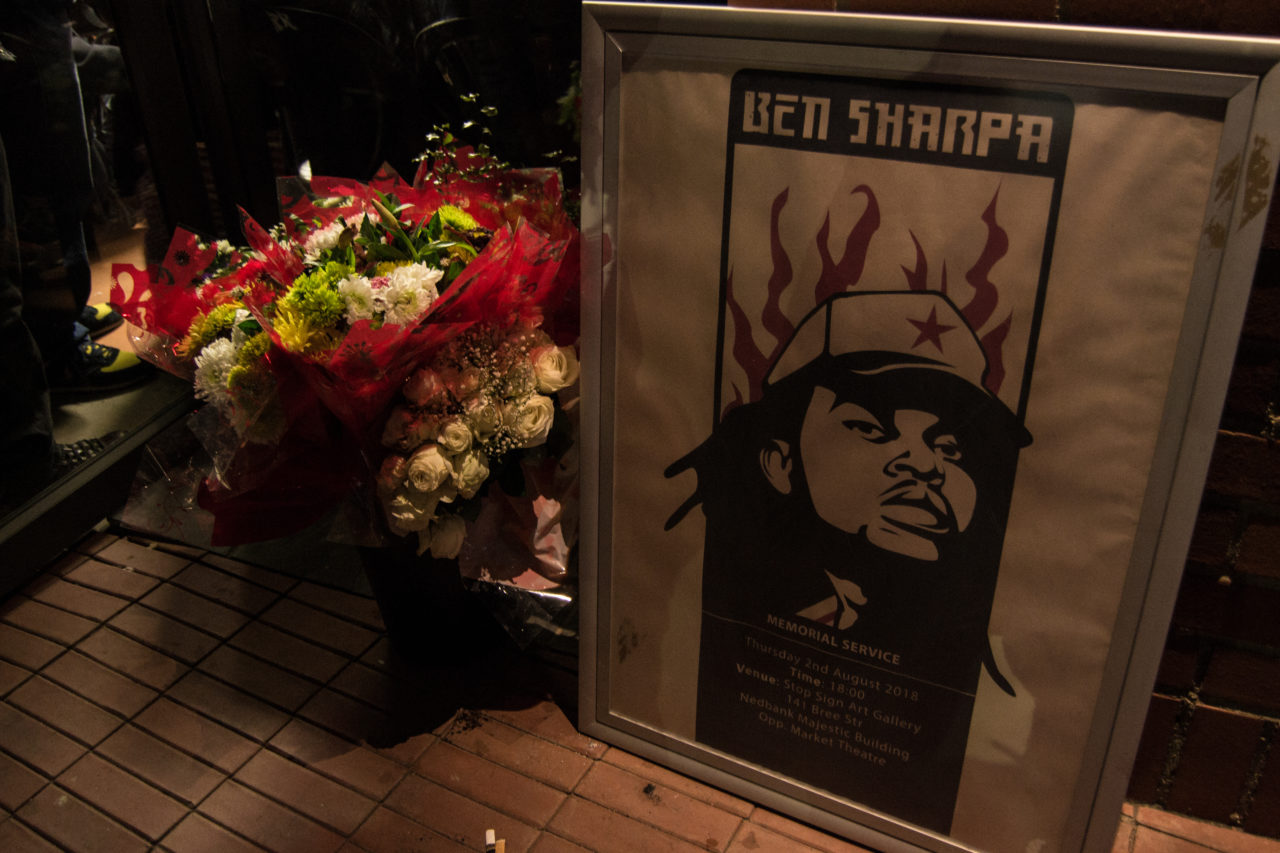 An illustration of late rapper Ben Sharpa at his memorial service in Newtown. By Sip The Snapper