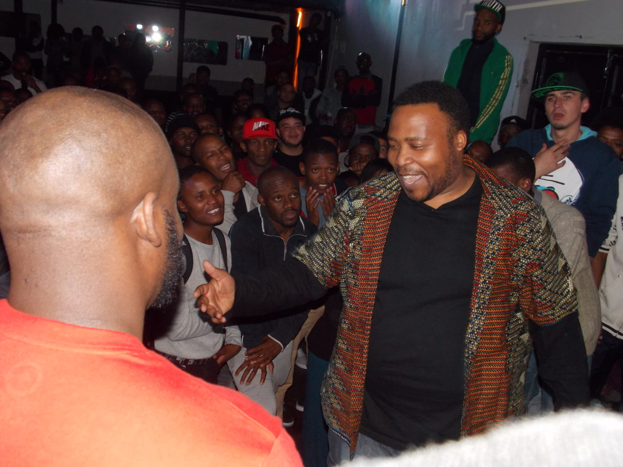 Stogie T or Tumi in a rap battle. Photo by Bonginkosi Ntiwane