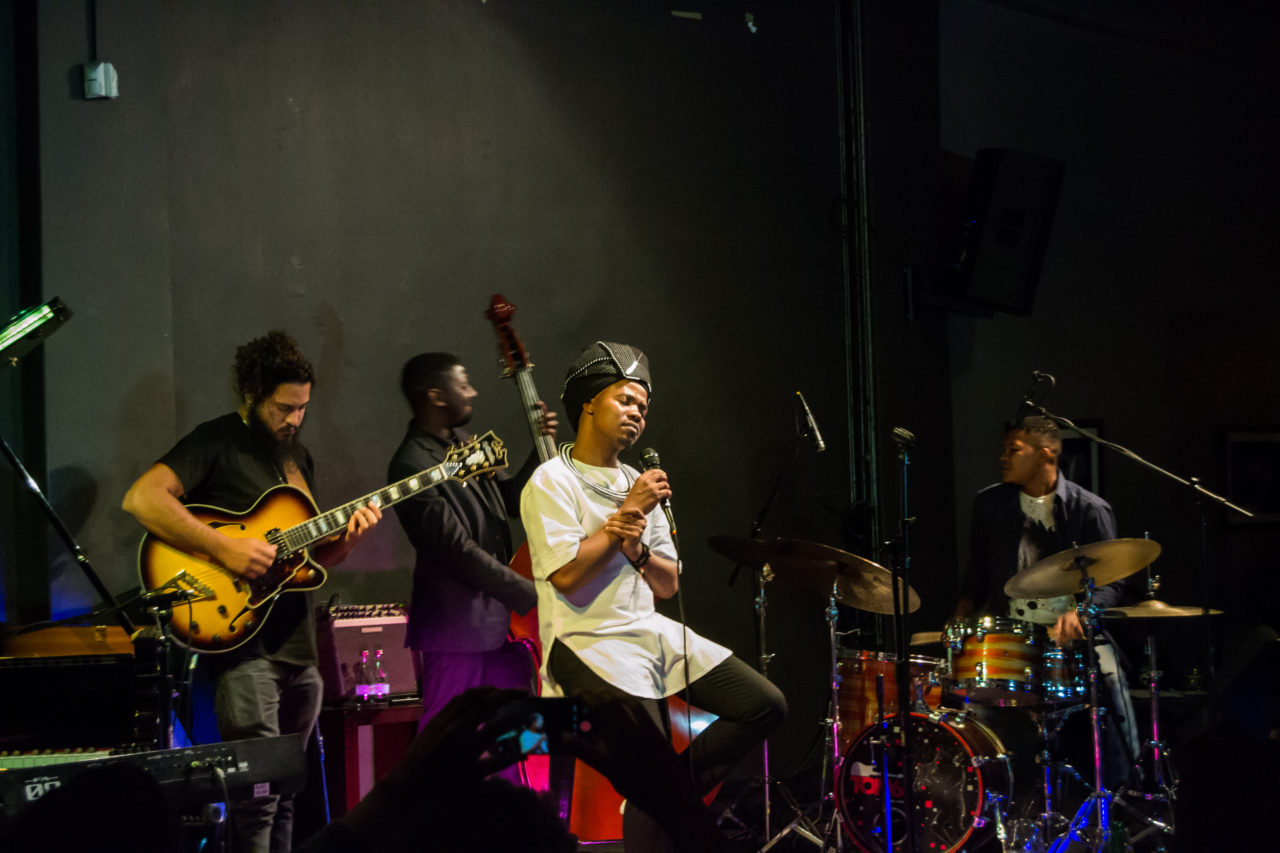 Dumza Maswana on stage at the Orbit Jazz Club. Photo by Sip The Snapper