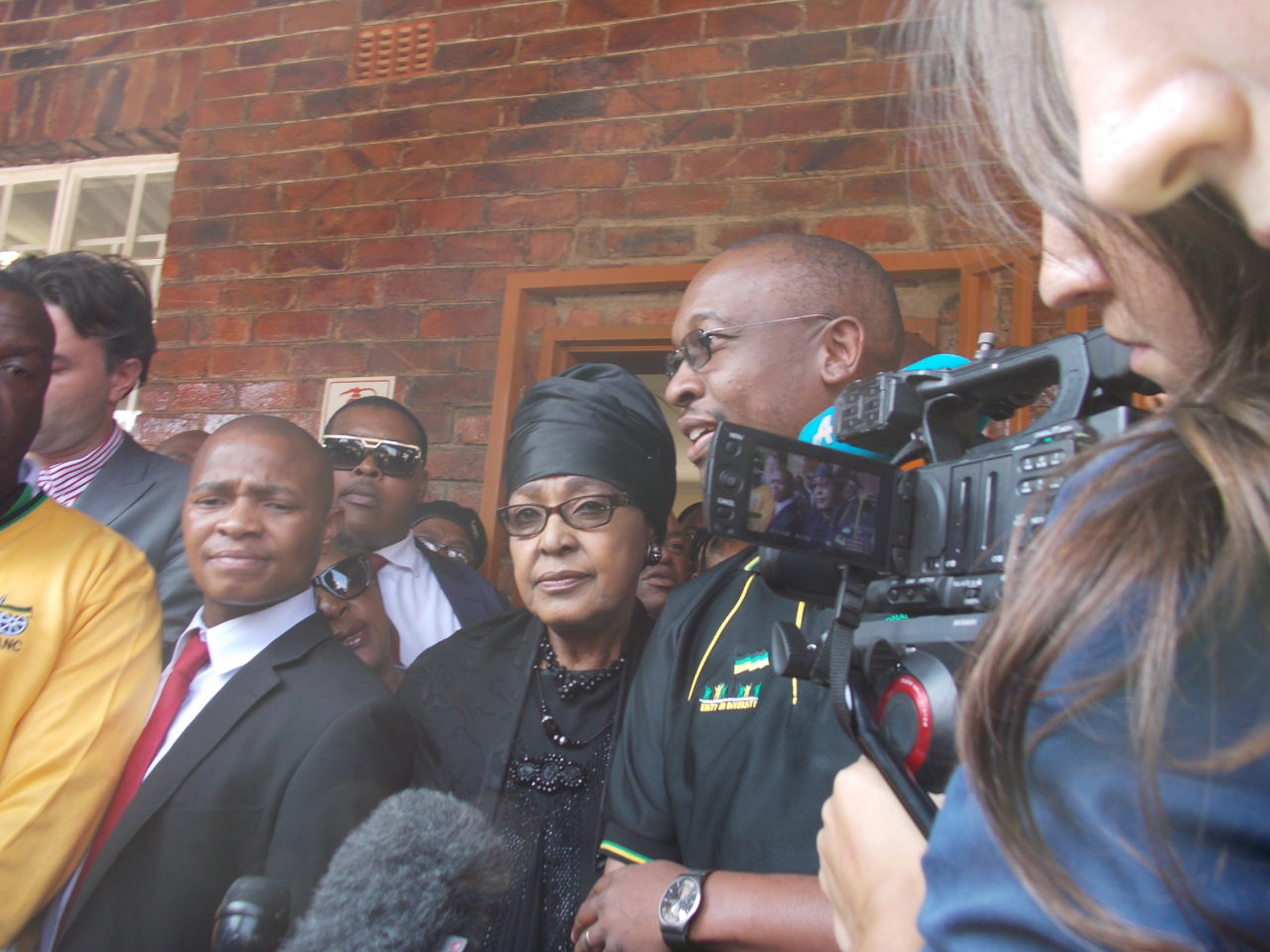 Winnie Mandela during the 2014 elections in Soweto. Photo by Bonginkosi Ntiwane