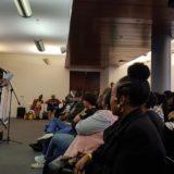 Swedish poet Jenny Hogstrom at the SA Book Fair, doing some poetry. Photo by Ishael Sibiya