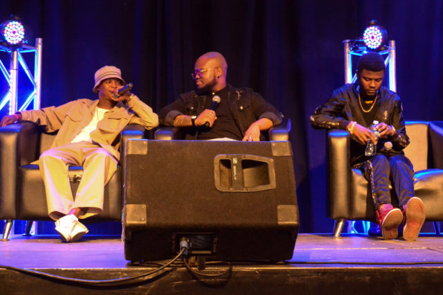 From L-R: Spikiri, DJ Sabby and Tweezy at the Beat Makers Market sharing knowledge. Photo by Sip The Snapper