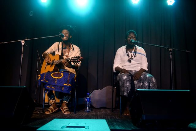 HEALING THE PEOPLE: Artist Sibusile Xaba on stage with Neftali on the right. Photo by Sip The Snapper