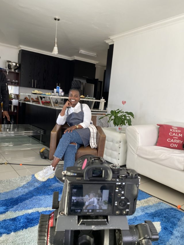 THE CHEF IN HER SEAT: Koketso being interviewed about her culinary skills. Photo by Rearabetswe Ntuli.
