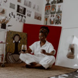Fine Artist On Fine wine: Selloane Moeti inside her studio. Photo supplied